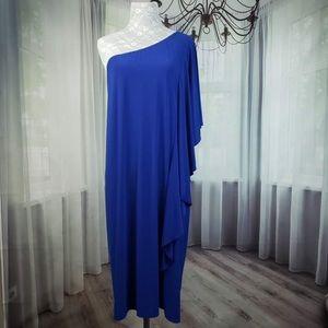 Tiana B Blue One Shoulder Ruffle Dress QA08☮️